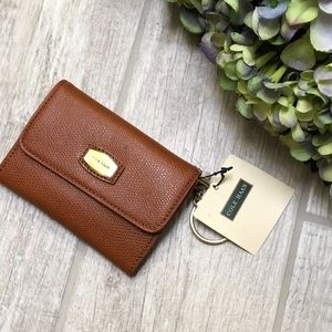 NWT Cole Haan Cognac Grained Leather Coin Purse